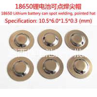 100 unids/lote al por mayor 18650 batería ánodo tapa de acero de soldadura señaló tapa sombrero de la luz de la linterna batería componentes