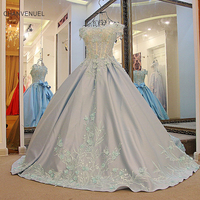LS32772 Elegant evening ball gown dress corset back robe de soiree longue satin long prom evening long dress ivory light blue