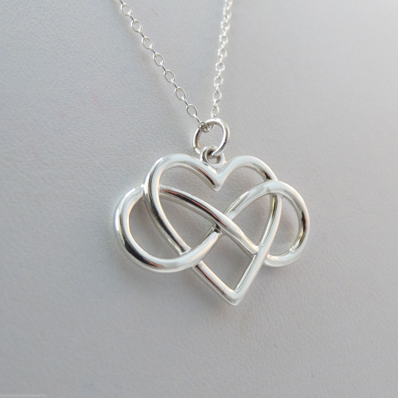 Trendy Tiny Infinity Heart Pendant Necklace Women Silver Plated Chain Lover Lady Girl Gi ...