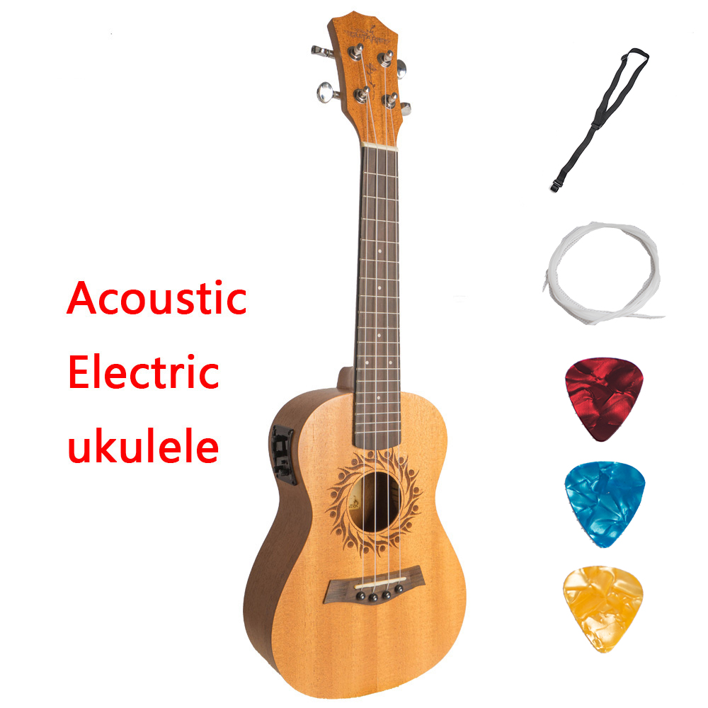 Acoustic Electric Soprano Concert Tenor Ukulele 21 23 26 Inch Mini Guitar Mahogany 4 Strings Ukelele Guitarra Uke Mahogany soprano ukulele neck for 21 inch ukelele uke hawaii guitar parts luthier diy sapele veneer pack of 5