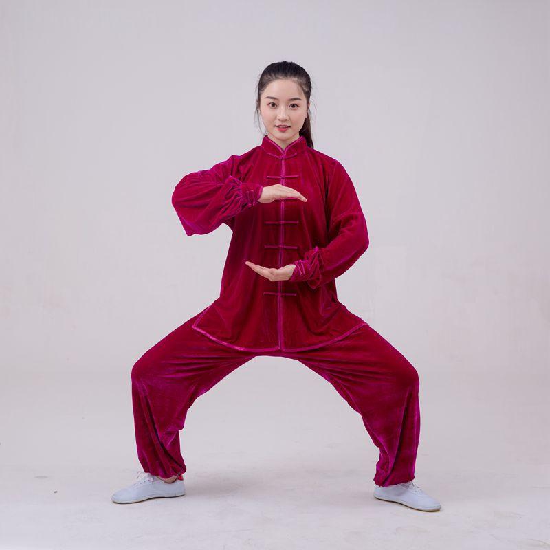 Tai Chi Suit Pleuche Thickening Long Sleeved Wushu TaiChi KungFu Uniform Suit Uniforms Tai Chi Exercise Clothing