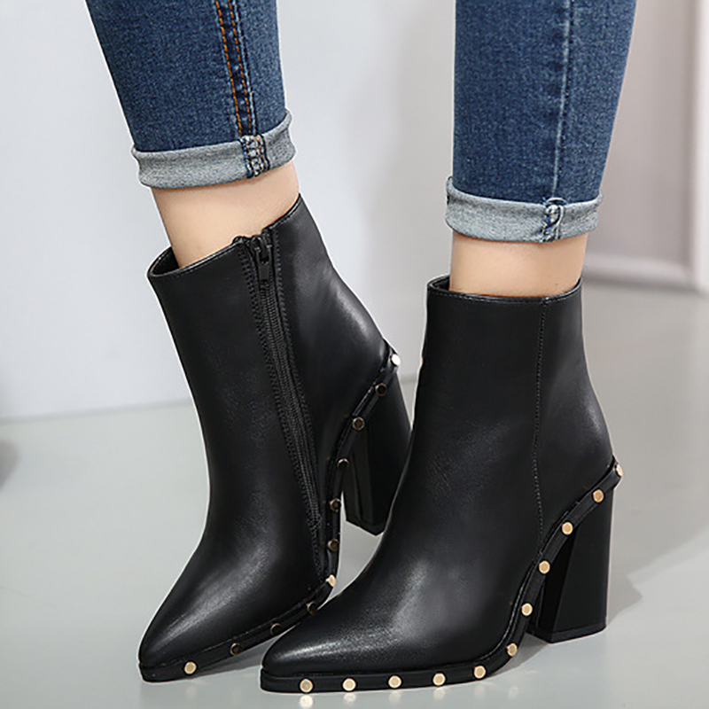 Women Ankle Boots 10cm High Heels Chunky Platform Women Fashion Shoes Black Block Heels Rivets Female Ladies Shoes Zipper Boots-in Ankle Boots from Shoes    1