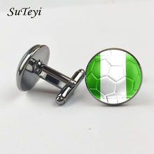 SUTEYI Nigeria Flag Football Print Men Cufflinks Shirt Suit Charms Round Glass Dome Art Design Fashion Gifts Wedding Jewelry(China)