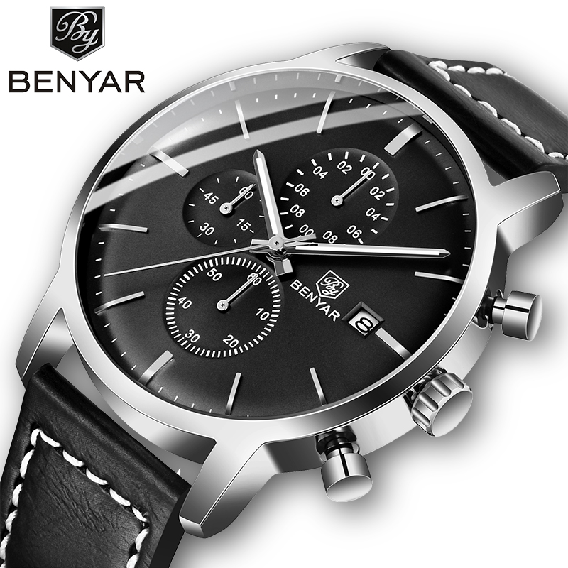 2019 New BENYAR Men's Watches Casual Fashion Chronograph/30M Waterproof/Sport Watches Men Leather Wristwatch Mens Reloj Hombre