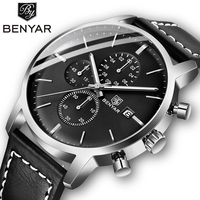 Новинка 2019 года BENYAR мужские часы повседневное Мода хронограф/30 м водостойкие/спортивные часы для мужчин кожа наручные часы для мужчин s Reloj