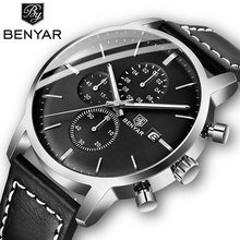 2019 New BENYAR Mens Watches Casual Fashion Chronograph/30M Waterproof/Sport Men Leather Wristwatch Reloj Hombre
