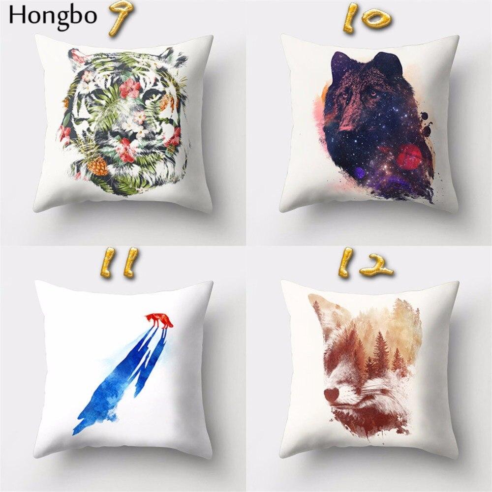 Hongbo 1 Pcs Cartoon Wolf Tiger Fox Pillow Case Cushion Cover Polyester For Car Sofa Home Decor in Cushion Cover from Home Garden
