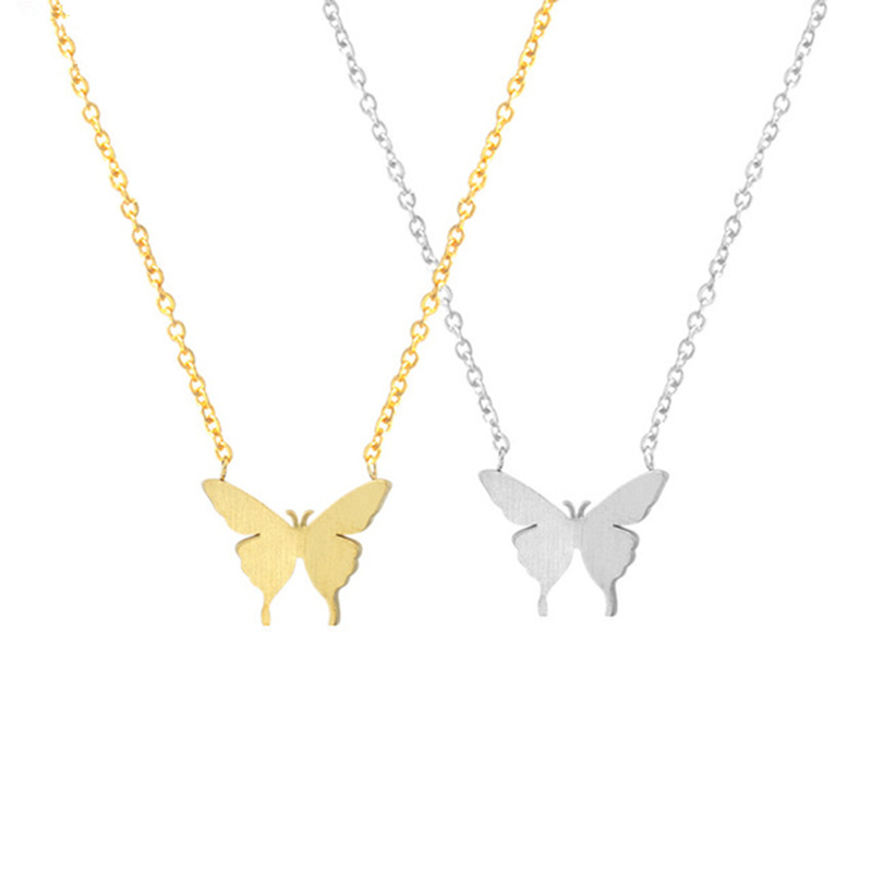 Delicate Elegant Serangga Butterfly Necklace for Women Rantai & Pendant Stainless Chain Sweater Kolye Kolier Indah