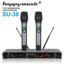 Двухканальная Профессиональная Беспроводная микрофонная система UHF для караоке, свадьбы, конференций, вечерних вечеринок, встреч, сцены, 200 каналов