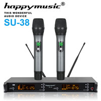 200 Channel Dual UHF Professional Wireless Microphone System Karaoke, Wedding, Conference,Evening Party, Meeting, Stage