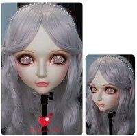 (DM004) Kadın Tatlı Kız Reçine Yarım Baş Kigurumi BJD Maske Cosplay Japon Anime Rol Lolita Gerçekçi Gerçek Maske Crossdress Doll
