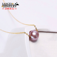 Natural Purple freshwater pearl necklace & pendants, whth 18K gold and S925 silver chain good lucky fine necklace pendants