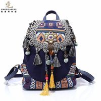 Women Bohemian Style Vintage Backpack Ladies Fancy Bags Canvas Shoulder Bag Boho Cotton Fabric Bag National