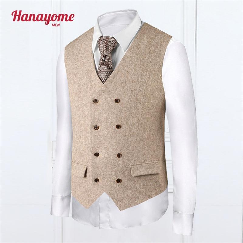 Khaki Vest Fashion Style Mens Cream Tuxedo Plaid Mens Suits Accessories Double Column Button Vests For Male Clothes SI015