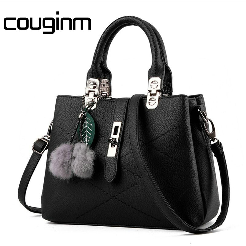 COUGINM New Women Female Briefcase Shoulder Bag OL PU Leather Handbag Messenger Casual Crossbody Bags Satchel Tote