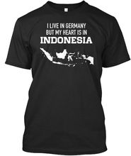 цена на Germany Heart Is In Indonesia - I Live But My Stylisches T-Shirt Harajuku Tops t shirt Fashion Classic Unique free shipping