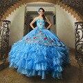 Apliques de Organza Volantes Bordado Quinceanera del Azul Real Vestidos de Quinceañera 2016 Dulce 16 Vestidos QD99