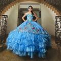 Organza Apliques Ruffles Azul Royal Bordados Ball Vestido Vestidos Quinceanera 2016 Doce 16 Vestidos Quinceanera QD99