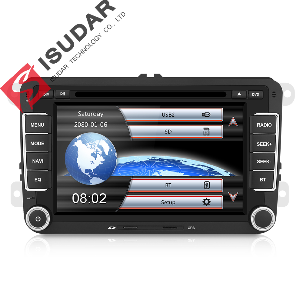 Isudar Car Multimedia player 2 Din Car DVD For VW/Volkswagen/Golf/Polo/<font><b>Tiguan</b></font>/Passat/b7/b6/SEAT/leon/Skoda/Octavia Radio GPS DAB image