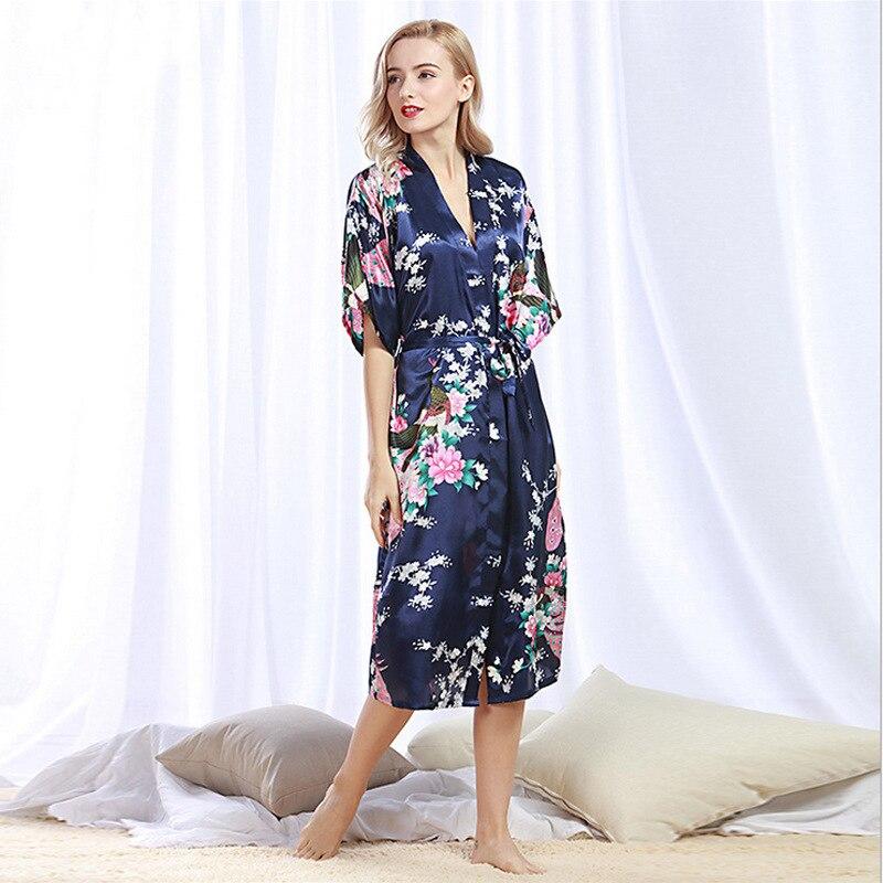 Causey 2018 Summer lingerie robe femme Floral Silk Satin Bridesmaid Robe Plus Size Kimono Night Bath Robe