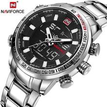 Мужские кварцевые аналоговые часы NAVIFORCE, роскошные модные спортивные наручные часы, водонепроницаемые часы из нержавеющей стали