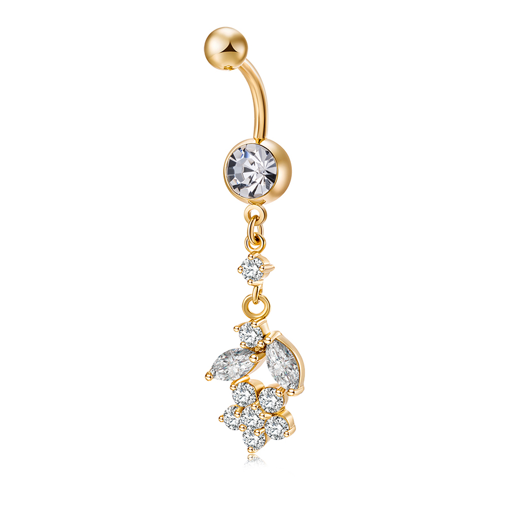 2017 Summer Popular Simple with White Petal Pendant Navel Ring (Gold) Weight with 4.93g