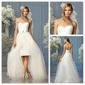 Frente curto longo vestidos de casamento querida mangas Backless Lace 2016 vestidos de noiva branco Tulle