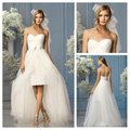 Front Short Long Back Wedding Dresses Sweetheart Sleeveless Backless Lace 2016 Bridal Gowns White Tulle