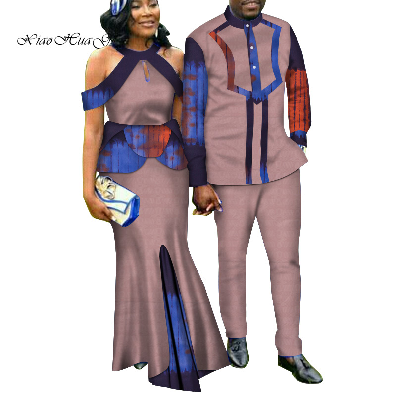 Two Piece Set African Dashiki Print Couple Clothing for Lovers Men's Suit Plus Women's Party Maxi Dress WYQ188 - 4
