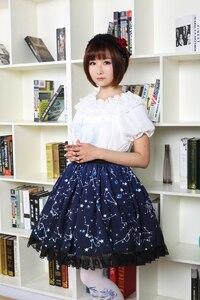Image 5 - Kawaii Mori Girl Short Skirt Sweet Navy Blue Starry Night Printed Skater Skirt for Women