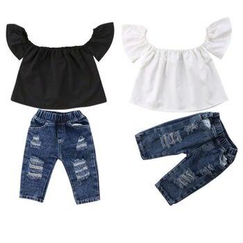 382b27657c8 Модная одежда для малышей Летняя одежда для девочек из хлопка с открытыми  плечами Топы Футболка рваные длинные брюки 2шт верхняя одежда ком.