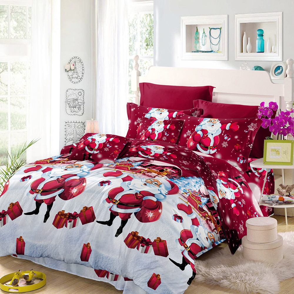 Christmas Comforter.Us 13 91 35 Off 3d Printed Merry Christmas Bedding Set Santa Claus Comforter Bedding Set Queen Twin King Size 2018 Christmas Decoration For Home In