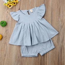 Imcute Newest Fashion 2PCS Newborn Infant Toddler Cute Kid Baby Girls Solid Ruffle Tops Dress Shorts Outfits Set Clothes Summer