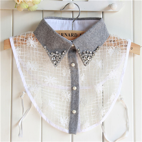 Elegant False Collar Women Grey Diamond Detachable Shirt Sweater Fake Collar