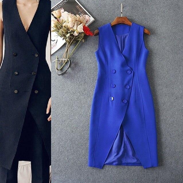High Quality New Fashion Coat Vest Women V-Neck Double Breasted Solid Blue Black Color Elegant Long Vest Coat Office Career OL
