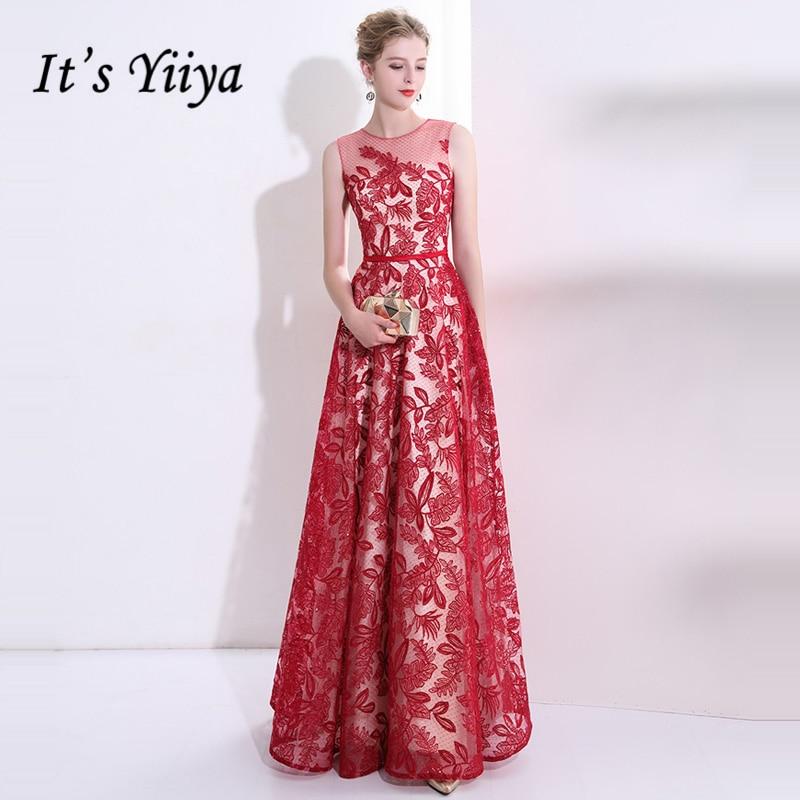 It's Yiiya 2018 Popular Luxury Elegant   Evening     Dresses   Famous Designer Flower Pattern Lace Party Formal   Dress   LX259