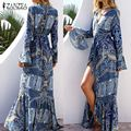 Boho Women Maxi Long Dress 2017 Vintage Pattern Print Flare Sleeve Trumpet Dresses Sexy V-Neck ZANZEA Vestidos Plus Size S-4XL