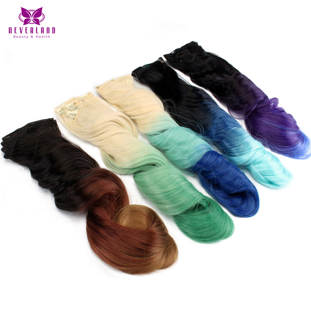 """Neverland 20"""" 16Clips 7pcs/set Full Head 10Colors Blond Ombre Rainbow Synthetic Hairpieces Curly Clip In Hair Extensions"""