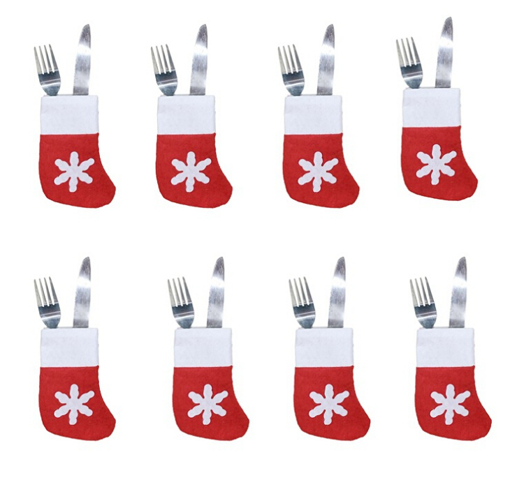 6pcs Christmas Tableware Knife Fork Set Holder Mini Snow Socks Christmas Decorations For Home Navidad New Year