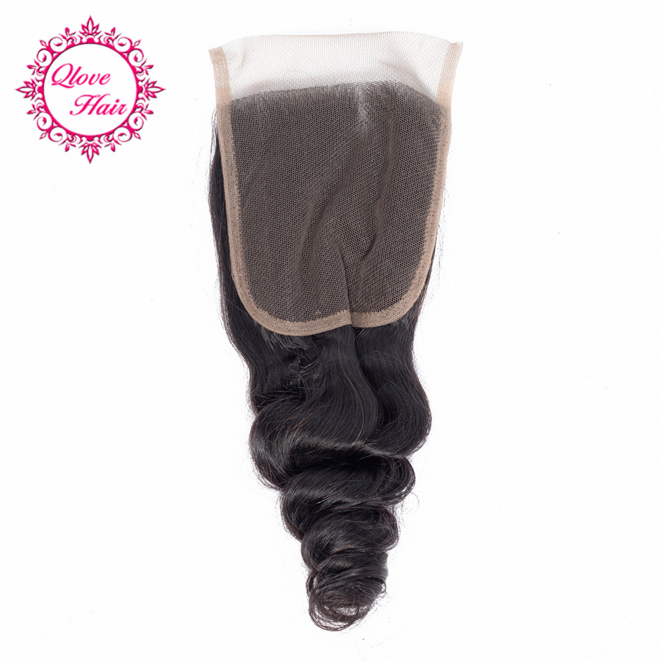 QLove Peruvian Loose Wave 4*4 Lace Closure Pre-colored 1 Pcs 100% Human Hair Weave Non Remy Natural Color 8-20 Inch