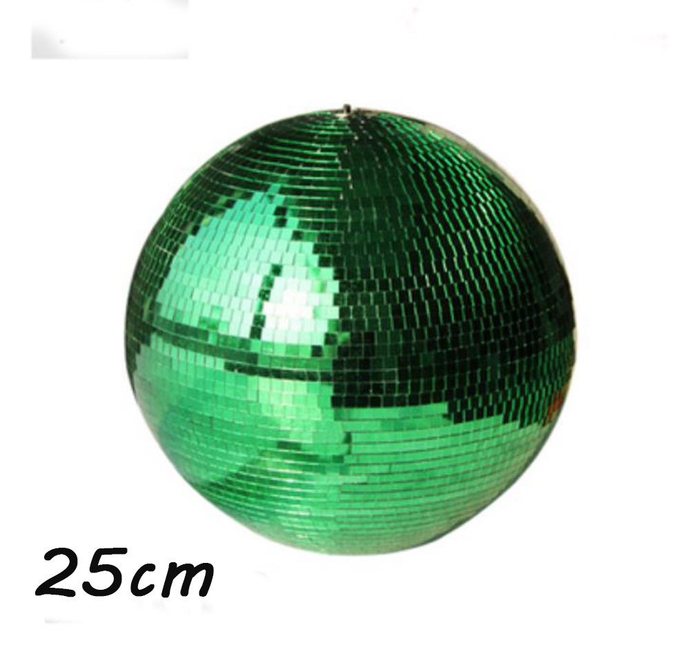 D25cm Green hand made glass rotating mirror ball 10 disco home party stage Industrial shop decoration reflection hanging balls colorfull light mirror reflection glass ball stage festival hanging ball motor 10inch 19cm