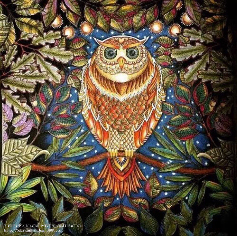 Hewan burung hantu 40 x 40 CM lukisan berlian DIY aksesoris kerajinan lintas stitch duri untuk