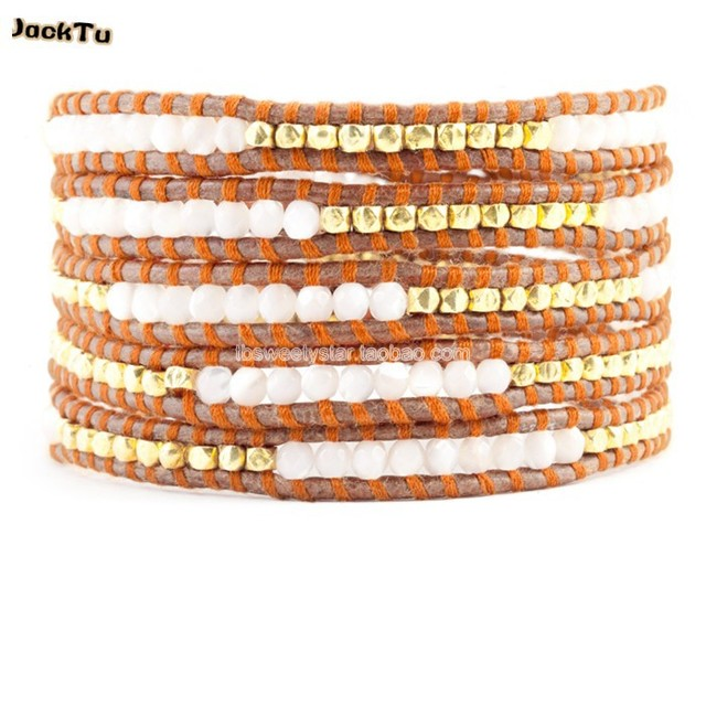2017 summer style white mother of pearl mixed gold nuggets leather wrap bracelet