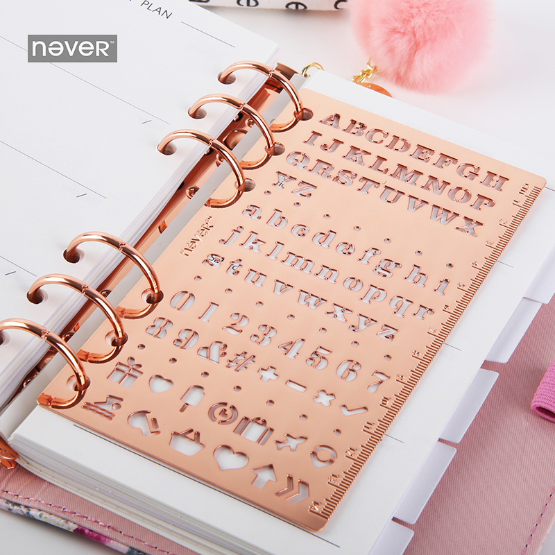NEVER Rose Gold Stencils Ruler Notebook Diary Metal Ruler Scrapbooking Drawing Kawaii Stationery Store Office & School Supplies