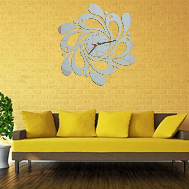 Mirror Style Clock Modern design Decal Art Wall Clock DIY Wall ...