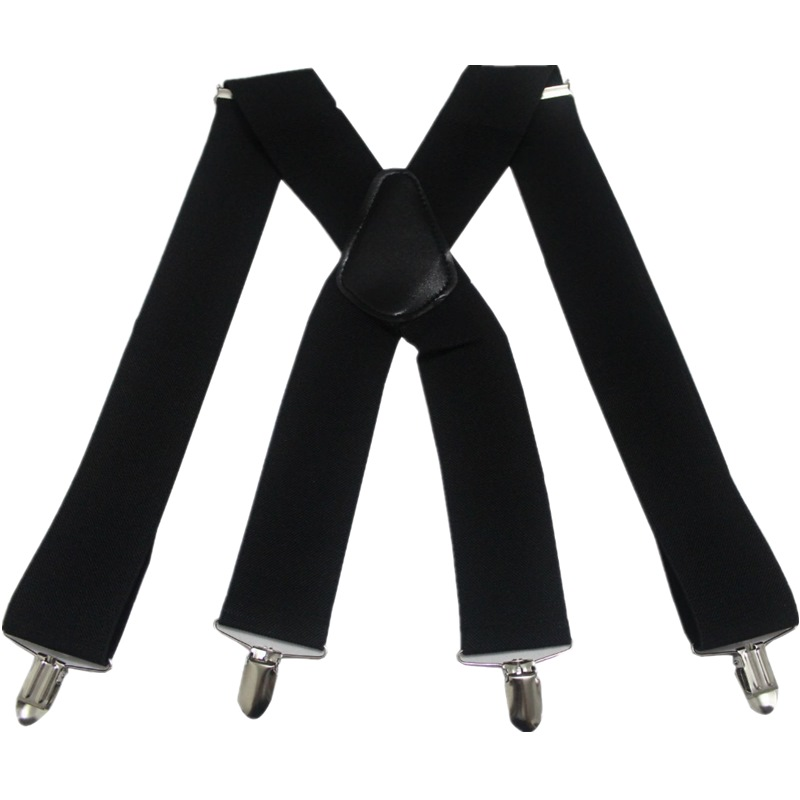 HUOBAO Vintage Black 5cm Wide Men's Suspenders X-Shape Trousers  Man Braces Strap Men Braces 4 Clip Elastic Male Suspenders