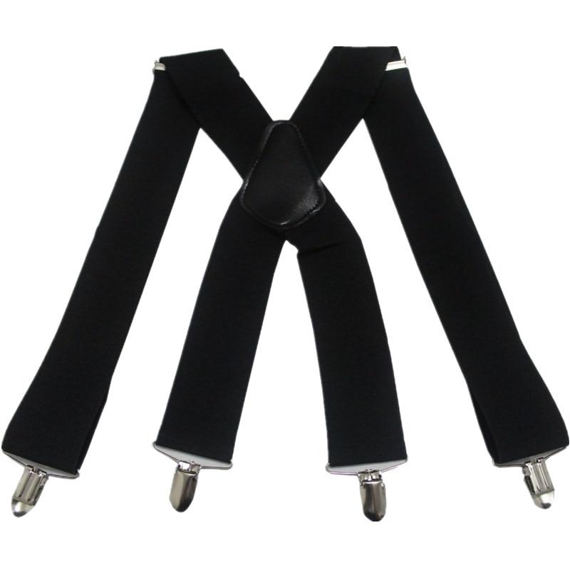 HUOBAO Vintage Black 5cm Wide Men's Suspenders X-Shape Trousers  Man Braces Strap Men Braces 4 Clip Elastic Male Suspenders