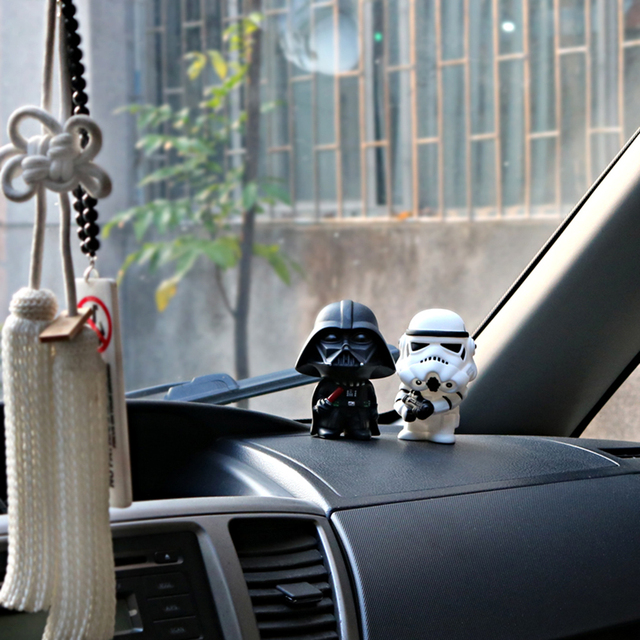 Car Ornament Cute Star Wars Action Figure Doll Automobiles Interior Black Darth Vader White Stormtroopers Model Decoration Gifts