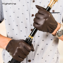 HIGHSHINE Genuine Leather Gloves Mens Winter Touch screen Sheepskin Male Glove Breathable Mesh Driving Car Short Thin Men Gloves