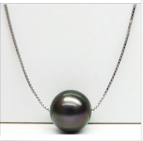 HOT 10-11MM NATURAL SOUTH SEA GENUINE BLACK PEARL PENDANT NECKLACE